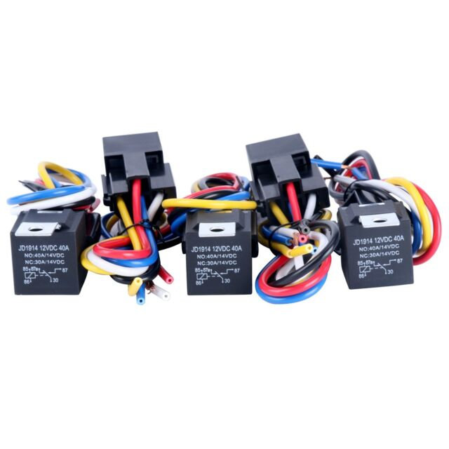 5Pcs DC 12V Car SPDT Automotive Relay 5 Pin 5 Wires w/ Harness Socket 30/40 Amp