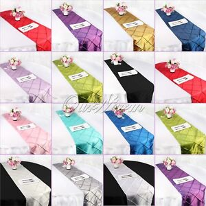 Taffeta-Pintuck-Table-Runner-Wedding-Party-Banquet-Decoration-Tablecloth-12x108-034