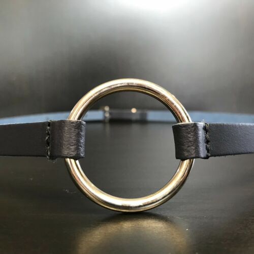 Size M NAVY BLUE O-Ring Ladies Skinny Thin Dress Tunic Jumper Leather Belt