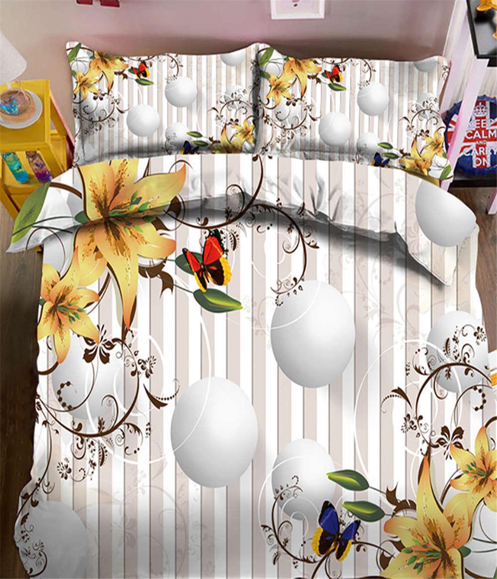 Spread Flowers 3D Printing Duvet Quilt Doona Covers Pillow Case Bedding Sets
