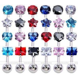 1x-16G-Steel-CZ-Bar-Ear-Cartilage-Tragus-Foward-Helix-Ring-Stud-Earring-Piercing