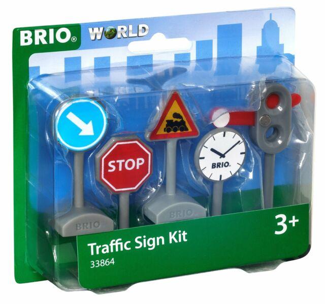33864 BRIO Traffic Sign Set Railway Train Road Accessories inc 5pcs Children 3+