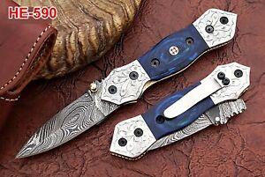 HUNTEX-Custom-Handmade-Damascus-11cm-Long-Pakkawood-Hunting-Folding-Pocket-Knife