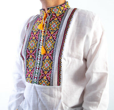 VYSHYVANKA Man Ukraine Embroidery LINEN White Yellow S-4XL Вишиванка з мережкой