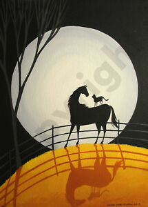 Black-Cat-Horse-moon-silhouette-funny-Giclee-art-Criswell-ACEO-print-of-painting