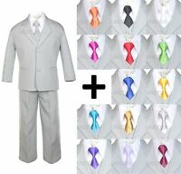 6pc Extra Neck Tie + Boy Infant Toddler Light Silver Formal Suit Tuxedo S-20