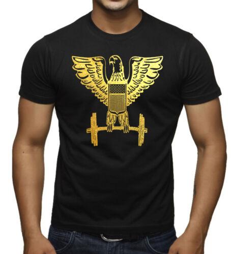 New Men/'s Gold Foil Eagle Dumbbells Black T Shirt Tee Workout Bodybuilding Gym