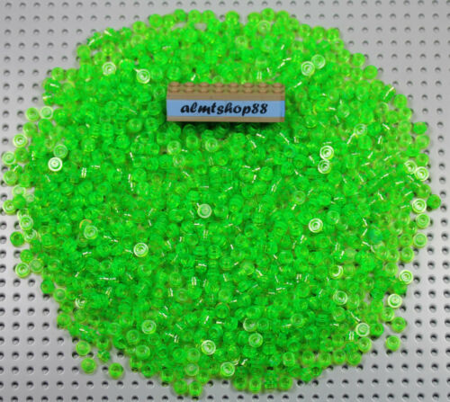 1x1 Round Plates Trans Bright Green Dots Small Translucent Lot Bulk Brick LEGO
