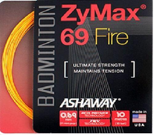 10m 0.69mm orange Ashaway Zymax 69 fire badminton string