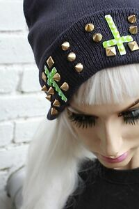 f0ffd136b5c Image is loading INVERTED-CROSS-STUDDED-STUD-BEANIE-HAT-STREET-WEAR-
