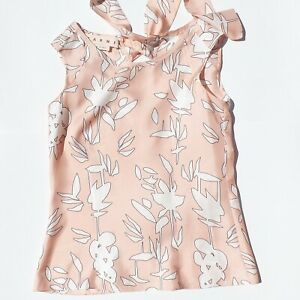 MARNI-Light-Pink-White-Black-Printed-Back-Tie-Sleeveless-Silk-Blouse-Top-36-38