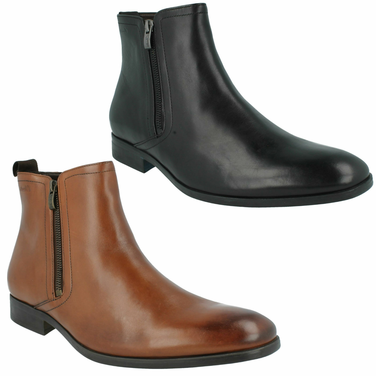 Da stivaletti Uomo Clarks Lacci Nero Tan Leather cerniera stivaletti Da casual con zip Banfield f4c347