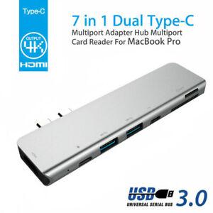 7in1 USB-C Hub HDMI Dual Type-C Multiport Card Reader Adapter 4K For MacBook Air
