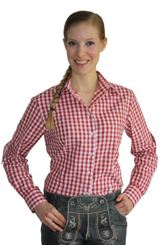 Edelnice Damen Trachtenhemd rot kariert langarm Trachtenbluse Bluse