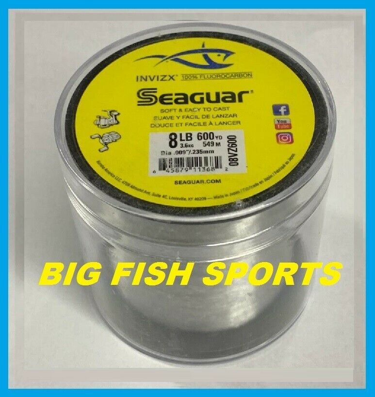 Seaguar Invizx 100% FluoroCochebono Línea 8lb 600yd 8VZ600 envío gratis EE. UU.  08VZ600