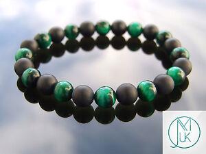 Green Tigers Eye/Onyx Matte Natural Gemstone Bracelet 7-7.5'' Elasticated Healin