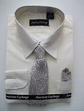Boys Dress Shirt With Tie & Hanky, Assorted Colors and Sizes