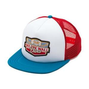 356fa5af143 Vans Off The Wall Long Neck Red White Teal Trucker Snapback Hat Mens ...