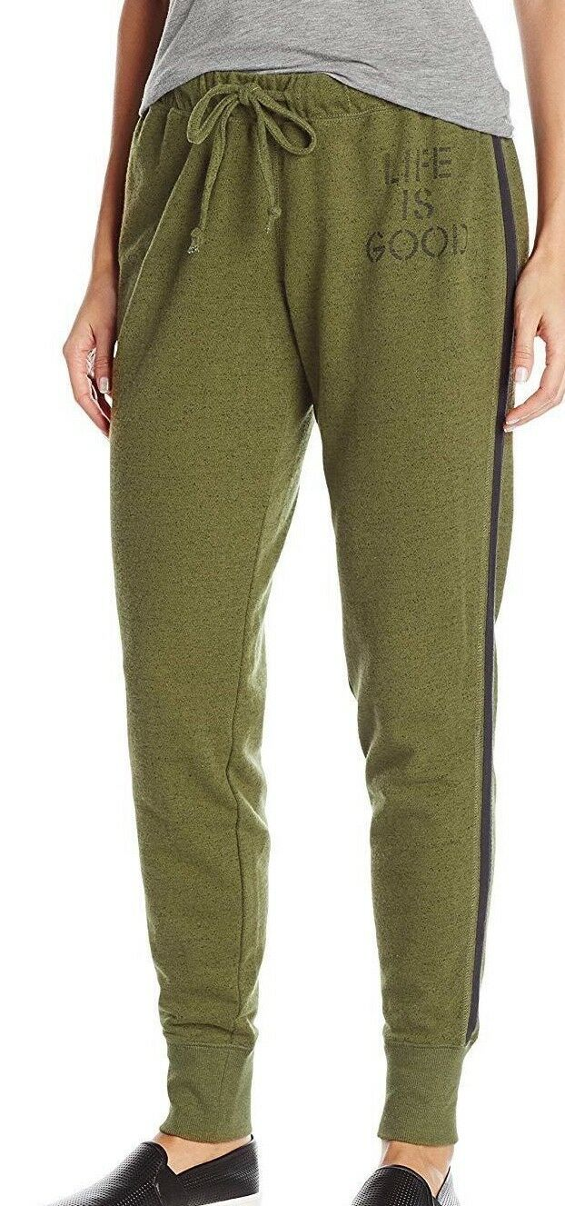 NWT Women's Life Is Good LIG Stitch Green Marled Terry Jogger Pants