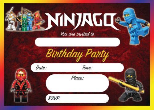 NINJAGO LEGO BIRTHDAY PARTY INVITATIONS CHILDRENS INVITES KIDS 10,20,30,40,50