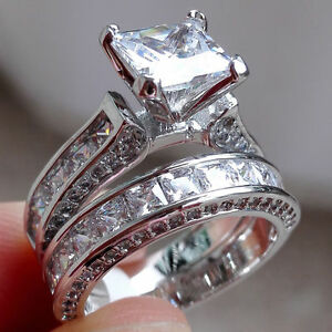 image is loading women fashion jewelry 925 silver white sapphire wedding - White Sapphire Wedding Ring Sets