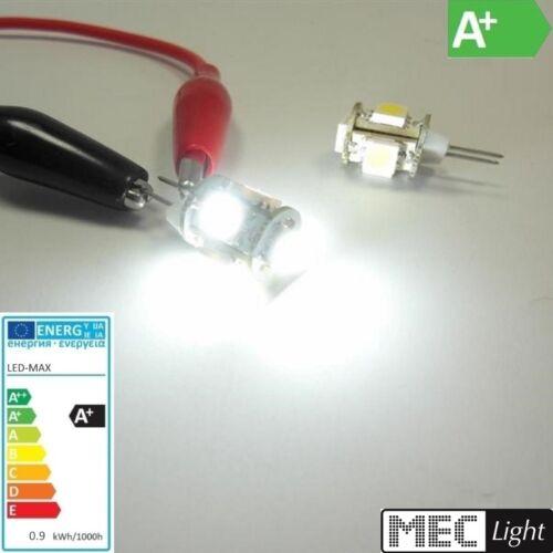 G4 LED penna Socket-cilindro 5x 3-Chip-SMDs 80lm 10-30v 0,9w Bianco