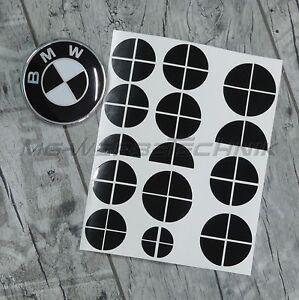 BMW-Emblem-Logo-Aufkleber-Ecken-1er-2er-3er-4er-M3-X1-X3-X4-X5-schwarz-glaenzend