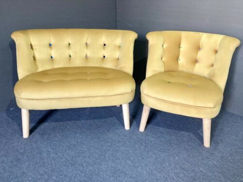 Bonita Loveseat & Accent Chair Set, Velvet Gold