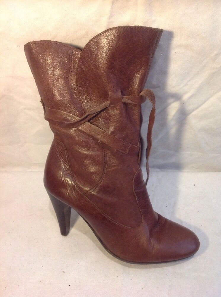 Top Shop Brown Mid Calf Leather Boots Size 39