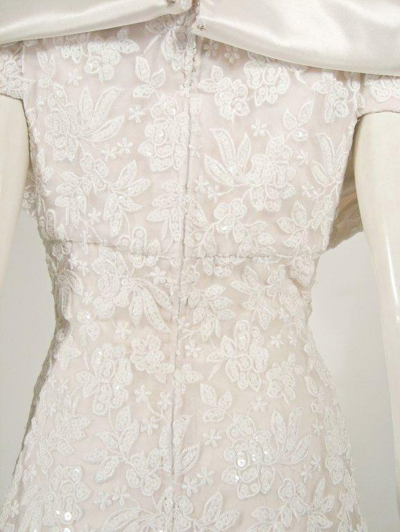 ARNOLD SCAASI White Floral Wedding Gown with Sequ… - image 6