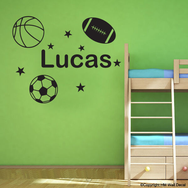 Personalise Name & BASKETBALL,FOOTBALL,SOCCER DIY Removable wall sticker-sport 1