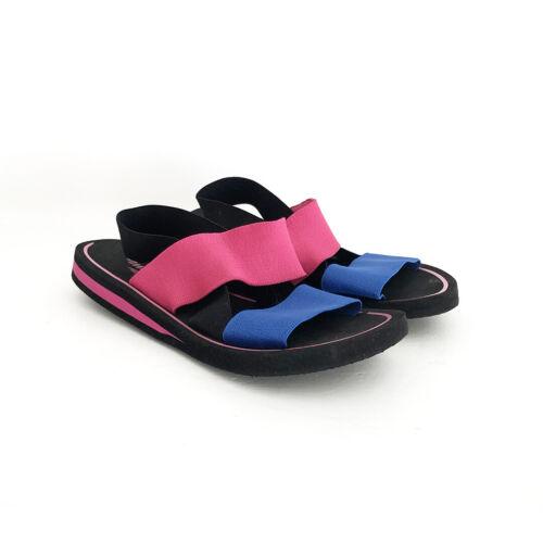 vintage 80s pink blue elastic strap sandals slides
