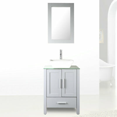 24 grey bathroom vanity glass top paint mdf wood cabinet w faucet rh ebay com ebay bathroom vanity with sink ebay bathroom vanity 1500