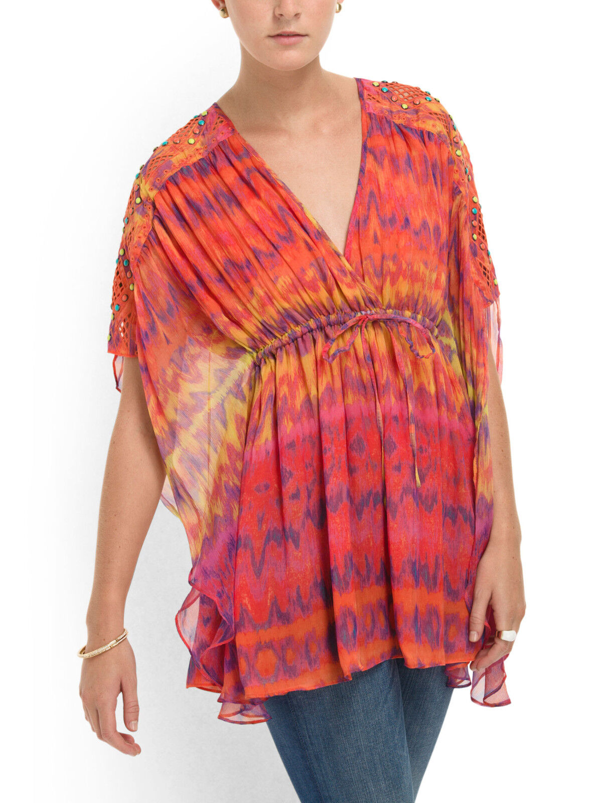 Catherine Malandrino Blouse Silk Kaftan Surfer Print Orange Multi-NWT-RP