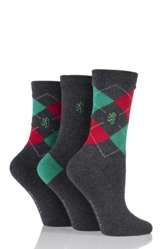Ladies 3 Pair Pringle of Scotland Argyle and Plain Socks