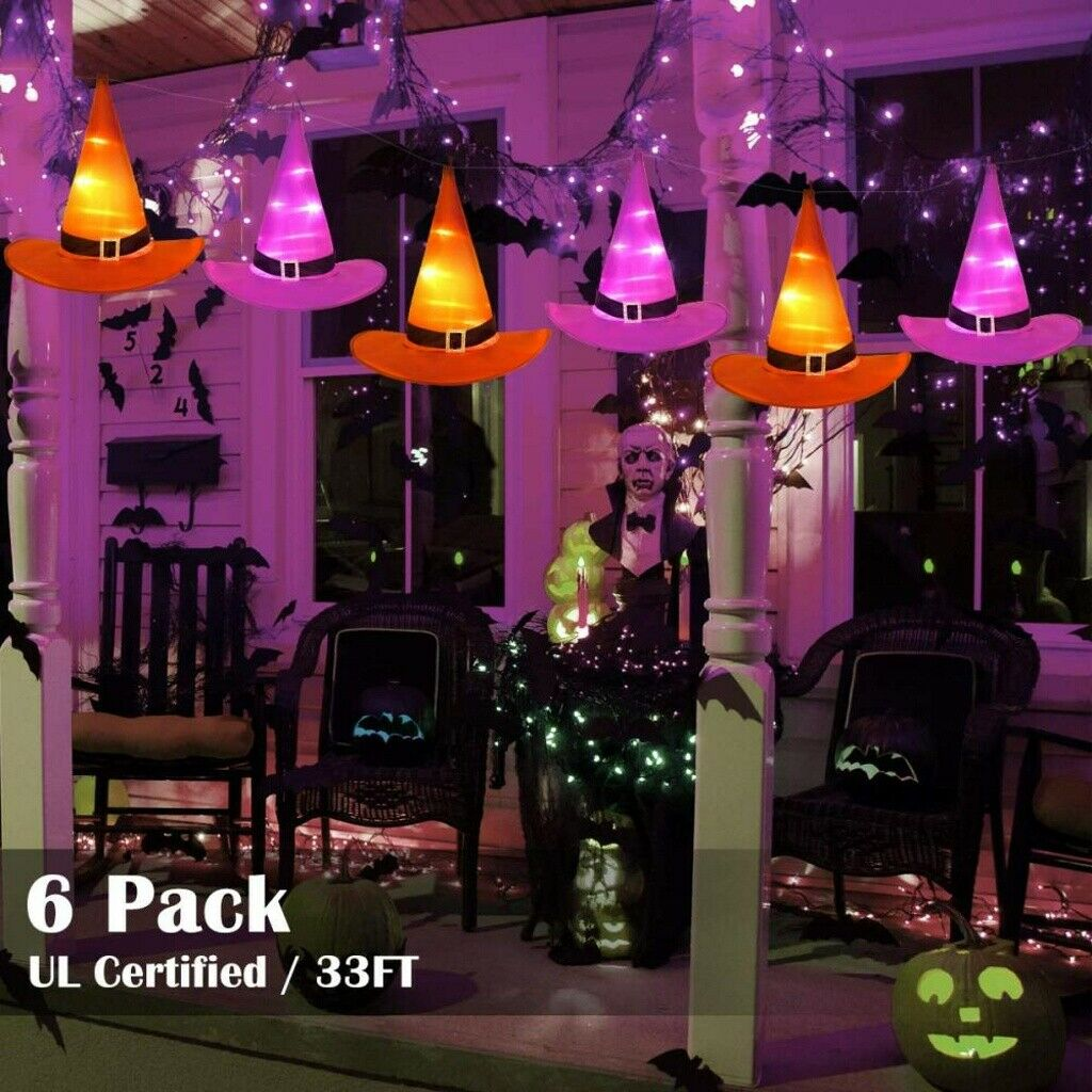 6Pcs Halloween Witchs Cap Hat Decor Light 33ft String Lights Party Decoration US