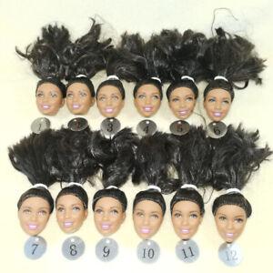 Wholesale-genuine-1-6-black-barbie-Nikki-doll-head-10pcs-lot-black-hair-NO4