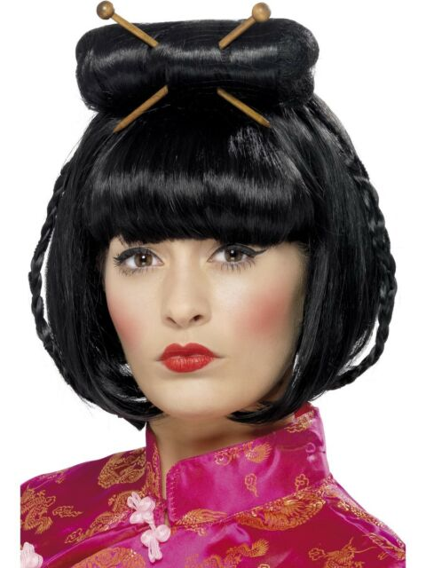 China Girl Oriental Wig Black Chopsticks Ladies Chinese Fancy Dress