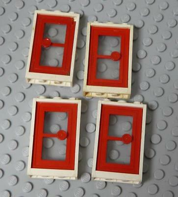 Lego Door 1x3x4 Red with White Frame x4PC