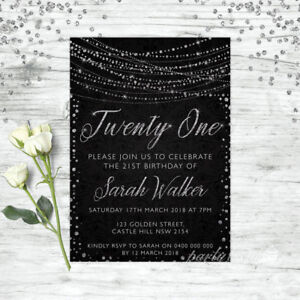 21ST-BIRTHDAY-INVITATIONS-AGE-21-PERSONALISED-PARTY-SUPPLIES-INVITE-SILVER