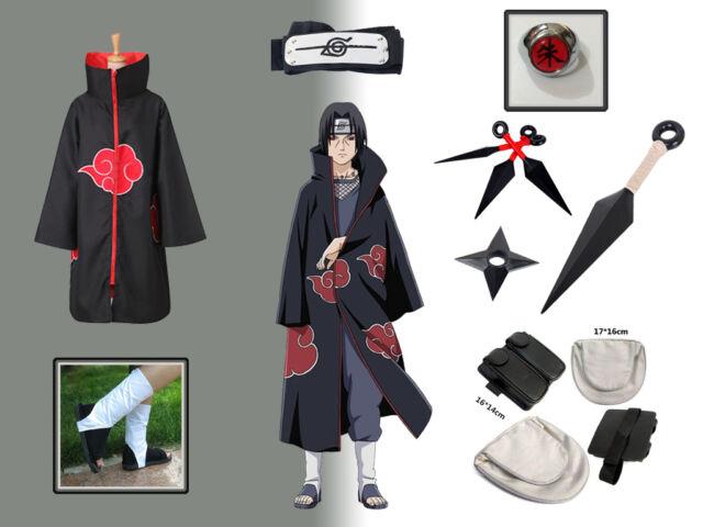 choisir officiel brillance des couleurs prix de gros Complete set Of Naruto Akatsuki cloak Uchiha Itachi Cosplay Costume