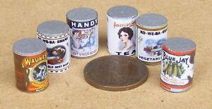 Belle Échelle 1:12 6 Grand Tin Sélection Maison De Poupées Miniature Food Peut Accessoire Vt4-afficher Le Titre D'origine