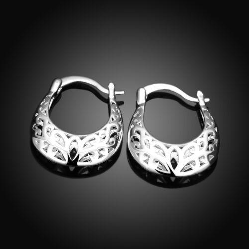 925 Argent sterling Bijoux Fleur Sac Hollow Moon Femmes Boucles D/'oreilles Créoles EY632