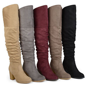 c04bf39f9ad Brinley Co Womens Regular and Wide Calf Faux Suede Ruche Over the ...