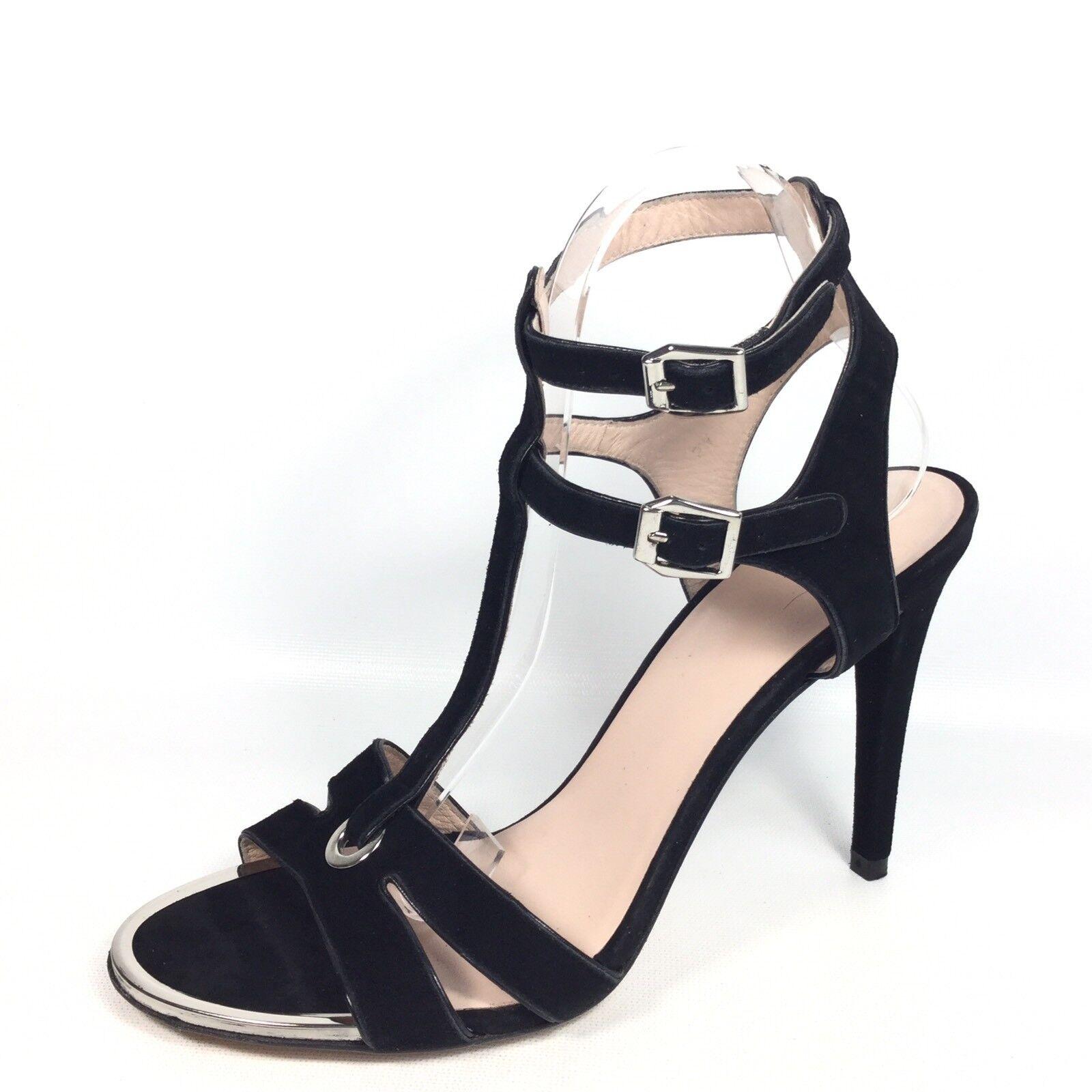 Stuart Weitzman Womens Size 9.5 M M M Black Suede Heel Dress Strappy Sandals. c2a3de