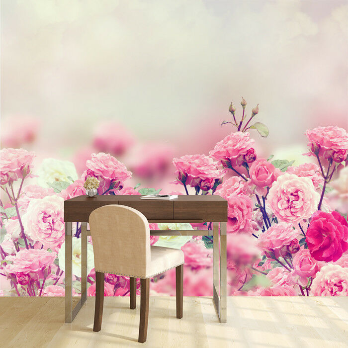 Pink White pink Flowers Wall Mural Floral Photo Wallpaper Girls Bedroom Decor