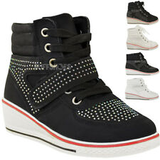 7a3a8c9774dbd0 Girls Kids Wedge Trainers Lace Up Pumps Ankle Boots Diamante Sneakers Shoes  Size