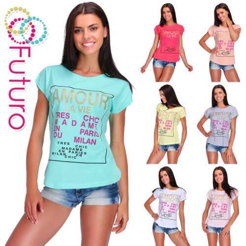 Party T-Shirt Amour Print Crew Neck Short Sleeve Ladies Top Sizes 8-14 FB132