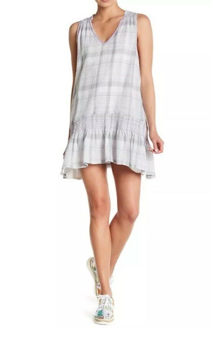 128 Free People Run With Me Plaid Grey Embroidered Mini Dress Sz S New