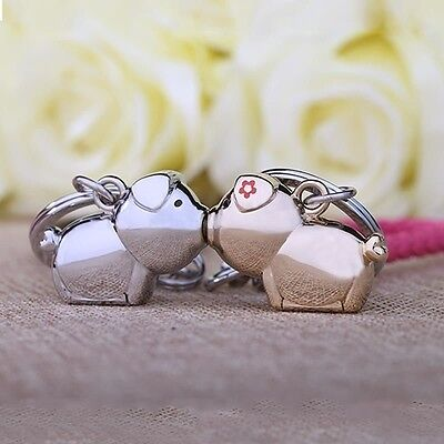 New Pigs Magenetic Kiss Men Women 2 Keychains Key Chain Ring Stainless Steel